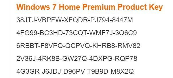 windows 7 home premium product keys