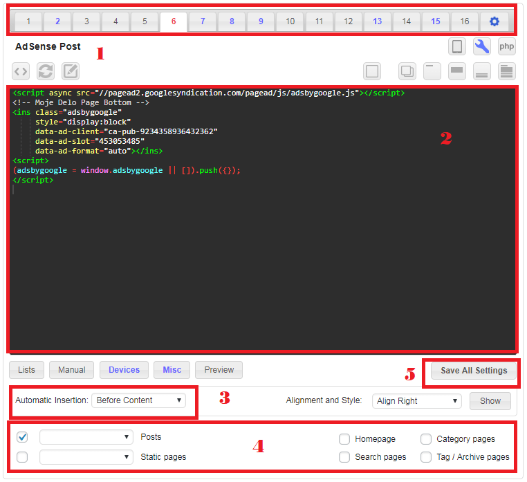 Insertar código Adsense en WordPress